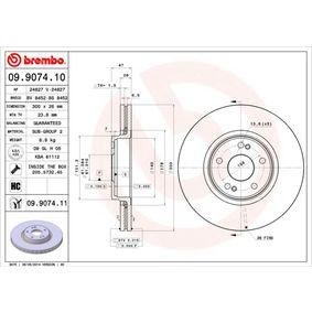 Bremsscheibe BREMBO Art.No - 09.9074.11 OEM: 7701206614 für RENAULT, NISSAN, DACIA, RENAULT TRUCKS kaufen