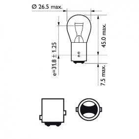 12495CP Крушка с нагреваема жичка, стоп светлини / габарити от PHILIPS качествени части