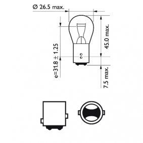 PHILIPS Bulb, brake / tail light (12495CP) at low price
