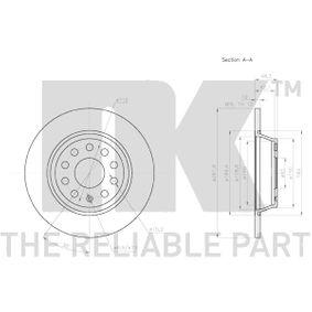 5Q0615601G за VW, AUDI, SKODA, SEAT, Спирачен диск NK (3147133) Онлайн магазин
