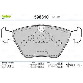 Bremsbelagsatz, Scheibenbremse VALEO Art.No - 598310 OEM: 34111163953 für BMW kaufen