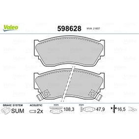 Bremsbelagsatz, Scheibenbremse VALEO Art.No - 598628 OEM: 4106050Y90 für HYUNDAI, NISSAN kaufen