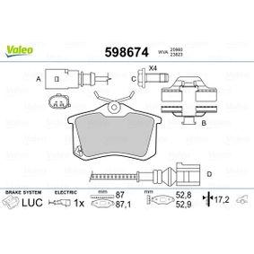 Bremsbelagsatz, Scheibenbremse VALEO Art.No - 598674 OEM: 6Q0698451 für VW, AUDI, SKODA, SEAT, HONDA kaufen