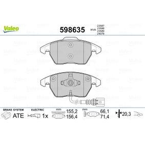 Bremsbelagsatz, Scheibenbremse VALEO Art.No - 598635 OEM: 1K0698151C für VW, AUDI, SKODA, SEAT kaufen
