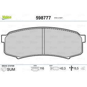 Bremsbelagsatz, Scheibenbremse VALEO Art.No - 598777 OEM: 0446660010 für TOYOTA, SUZUKI, LEXUS, WIESMANN, SATURN kaufen