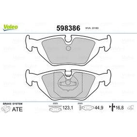 Bremsbelagsatz, Scheibenbremse VALEO Art.No - 598386 OEM: 34211162446 für BMW, MINI, ROVER kaufen