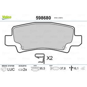Bremsbelagsatz, Scheibenbremse VALEO Art.No - 598680 OEM: 0446602070 für TOYOTA, LEXUS, WIESMANN, SATURN kaufen