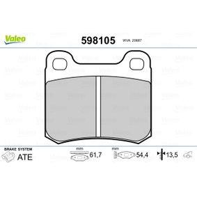 Bremsbelagsatz, Scheibenbremse VALEO Art.No - 598105 OEM: 0014200120 für MERCEDES-BENZ, SMART kaufen