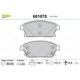 Bremsbelagsatz, Scheibenbremse VALEO Art.No - 601070 OEM: 1605135 für OPEL, FORD, SKODA, CHEVROLET, SAAB kaufen