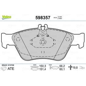 Bremsbelagsatz, Scheibenbremse VALEO Art.No - 598357 kaufen