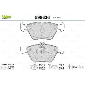 Bremsbelagsatz, Scheibenbremse VALEO Art.No - 598636 kaufen