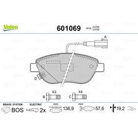 Bremsbelagsatz, Scheibenbremse VALEO Art.No - 601069 OEM: 77365379 für FIAT, PEUGEOT, ALFA ROMEO, LANCIA, ABARTH kaufen