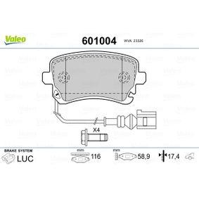 Bremsbelagsatz, Scheibenbremse VALEO Art.No - 601004 OEM: 4F0698451C für VW, AUDI, SKODA, SEAT kaufen