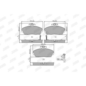 JURID Комплект спирачно феродо, дискови спирачки GBP90313 за SKODA, ROVER, MG купете
