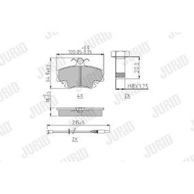Bremsbelagsatz, Scheibenbremse JURID Art.No - 571526J OEM: 7701204833 für RENAULT, PEUGEOT, NISSAN, CHEVROLET, DACIA kaufen