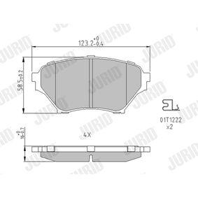 Bremsbelagsatz, Scheibenbremse JURID Art.No - 572502J OEM: N0Y93323Z für MAZDA, MERCURY kaufen