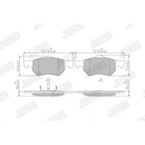 Bremsbelagsatz, Scheibenbremse JURID Art.No - 572509J OEM: 5015365AA für ALFA ROMEO, JEEP, CHRYSLER, DODGE kaufen