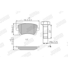 Bremsbelagsatz, Scheibenbremse JURID Art.No - 573219J OEM: 4B3698451A für VW, AUDI, SKODA, SEAT kaufen