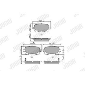 Bremsbelagsatz, Scheibenbremse JURID Art.No - 573299J OEM: 68029887AA für MERCEDES-BENZ, FIAT, ALFA ROMEO, JEEP, CHRYSLER kaufen
