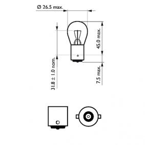 MICRA II (K11) PHILIPS Λυχνία φώτων όπισθεν 12498B2