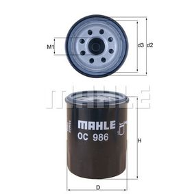 650134 for VAUXHALL, OPEL, FIAT, ALFA ROMEO, LANCIA, Oil Filter MAHLE ORIGINAL (OC 986) Online Shop