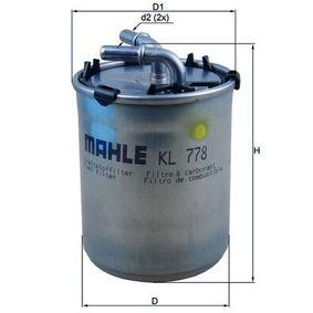 Filtro de combustible MAHLE ORIGINAL (KL 778) para SEAT IBIZA precios