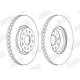 Bremsscheibe JURID Art.No - 562387J OEM: 5N0615301 für VW, AUDI, SKODA, SEAT, ALFA ROMEO kaufen
