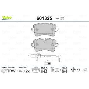 Kit de plaquettes de frein, frein à disque VALEO Art.No - 601325 OEM: 4H0698451M pour VOLKSWAGEN, AUDI, SEAT, SKODA récuperer