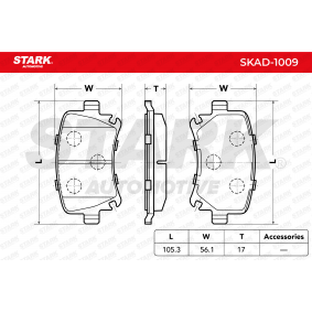 Octavia II Combi (1Z5) STARK Sada brzdových destiček, kotoučová brzda SKAD-1009