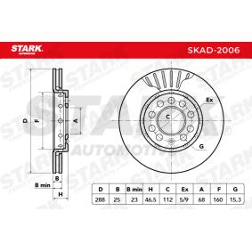 STARK Bremsscheibe Vorderachse, Ø: 288mm, belüftet SKAD-2006 in Original Qualität