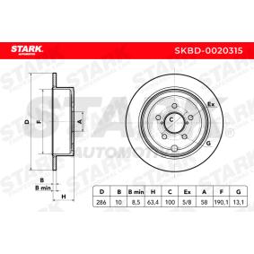 Bremsscheiben (SKBD-0020315) hertseller STARK für SUBARU IMPREZA Schrägheck (GR, GH, G3) ab Baujahr 02.2009, 255 PS Online-Shop