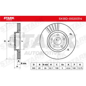 STARK SKBD-0020314 Bremsscheibe OEM - 7G911125EA FORD, NISSAN, VAG, MAGNETI MARELLI, FORD USA, AKEBONO, A.B.S. günstig
