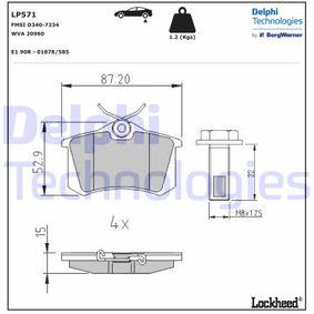 DELPHI SEAT IBIZA Pastillas de freno (LP571)