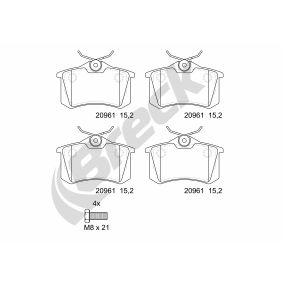Bremsbelagsatz, Scheibenbremse BRECK Art.No - 20961 00 704 00 OEM: 1H0698451H für VW, AUDI, PEUGEOT, SKODA, SEAT kaufen