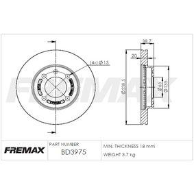 Bremsscheibe FREMAX Art.No - BD-3975 OEM: 321615301C für VW, AUDI, FORD, SKODA, SEAT kaufen