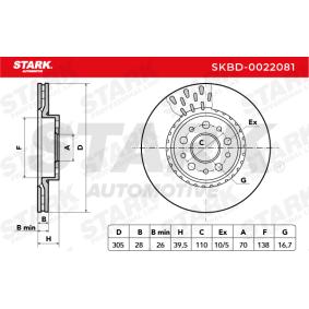 STARK SKBD-0022081 Bremsscheibe OEM - 51760621 ALFA ROMEO, FIAT, MERCEDES-BENZ, ALFAROME/FIAT/LANCI, TRW, AKEBONO, A.B.S. günstig