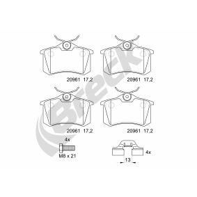 Bremsbelagsatz, Scheibenbremse BRECK Art.No - 20961 10 704 00 OEM: 1J0698451R für VW, AUDI, FORD, RENAULT, PEUGEOT kaufen