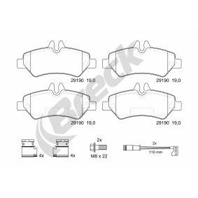 Bremsbelagsatz, Scheibenbremse BRECK Art.No - 29190 00 703 10 OEM: 2E0698451 für VW, MERCEDES-BENZ, AUDI, SKODA, SEAT kaufen