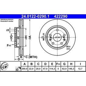 ATE Bremsscheibe (24.0122-0290.1) niedriger Preis
