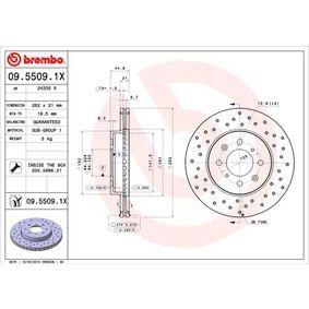 Спирачен диск BREMBO Art.No - 09.5509.1X OEM: SDB000990 за HONDA, SKODA, LAND ROVER, ROVER, MG купете