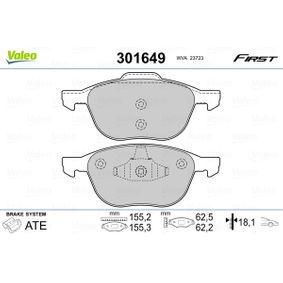 Bremsbelagsatz, Scheibenbremse VALEO Art.No - 301649 OEM: 2188058 für FORD kaufen