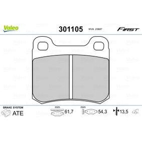 Bremsbelagsatz, Scheibenbremse VALEO Art.No - 301105 OEM: 0014200120 für MERCEDES-BENZ, SMART kaufen