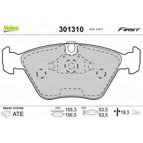 Bremsbelagsatz, Scheibenbremse VALEO Art.No - 301310 OEM: 34111164330 für BMW, ALPINA kaufen