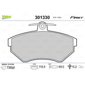 Bremsbelagsatz, Scheibenbremse VALEO Art.No - 301330 OEM: 357698151D für VW, AUDI, SKODA, SEAT kaufen