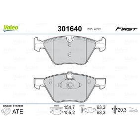 Bremsbelagsatz, Scheibenbremse VALEO Art.No - 301640 OEM: 34116799166 für BMW kaufen