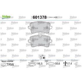 Bremsbelagsatz, Scheibenbremse VALEO Art.No - 601378 OEM: 8K0698451E für VW, AUDI, SKODA, SEAT kaufen