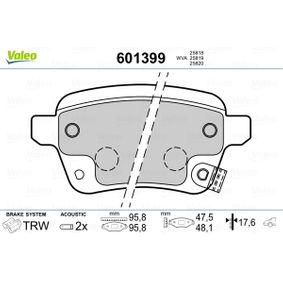 Bremsbelagsatz, Scheibenbremse VALEO Art.No - 601399 OEM: 77366595 für FIAT, ALFA ROMEO, LANCIA, ABARTH kaufen