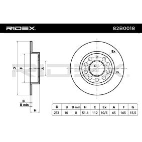 RIDEX 82B0018 Bremsscheibe OEM - 5C0615601 AUDI, PORSCHE, SEAT, SKODA, VW, VAG, MAGNETI MARELLI, BREMBO, AKEBONO, METELLI, MASTER-SPORT GERMANY, R BRAKE günstig