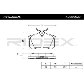 RIDEX 402B0029 Juego de pastillas de freno OEM - 7354162 AUDI, CITROËN, FIAT, FORD, LANCIA, PEUGEOT, RENAULT, SEAT, SKODA, VW, TEXTAR, GEO, DS a buen precio