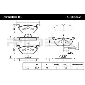 RIDEX Комплект спирачно феродо, дискови спирачки 402B0033